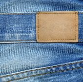 stock photo of denim jeans  - Blank leather jeans label - JPG