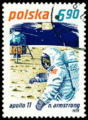 Vintage  Postage Stamp. Neil Armstrong And Apollo 11.