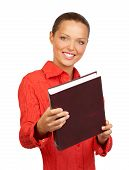 stock photo of student teacher  - Young woman student holding a book - JPG