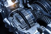 Automotive transmission gearbox isolated poster