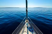 Постер, плакат: Front View Of Sailing Boat On The Sea