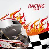 Постер, плакат: гоночный флаг и шлем с пламя огня