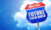 prom queen, 3D rendering, blue street sign poster