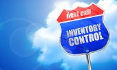 Постер, плакат: inventory control 3D rendering blue street sign