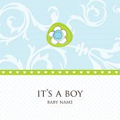 stock photo of baby-boy  - Baby boy arrival card - JPG