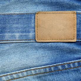 stock photo of denim jeans  - Blank leather jeans label - JPG