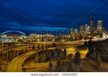 Seattle Downtown Skyline And Freeway At Twilight