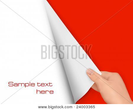 Blank sheet of paper with hand. Background vector.