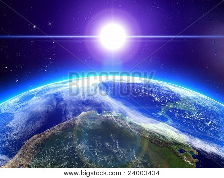 The Sun And The Earth In Space