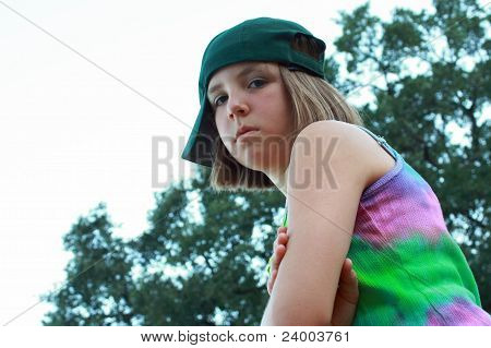 Young girl with baseball cap