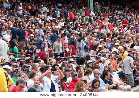Boston - August 8: New York Yankees And Boston Red Sox Fans In The Stands On August 8, 2011 At Fenwa