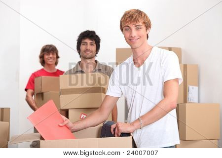 trio of friends moving in together