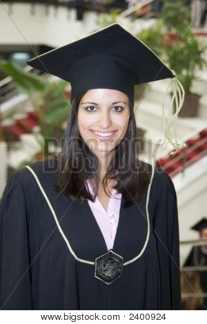 Student Is Graduating In Black Gown