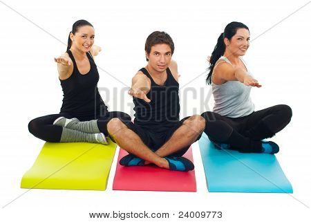 Yoga  Group Of Three People