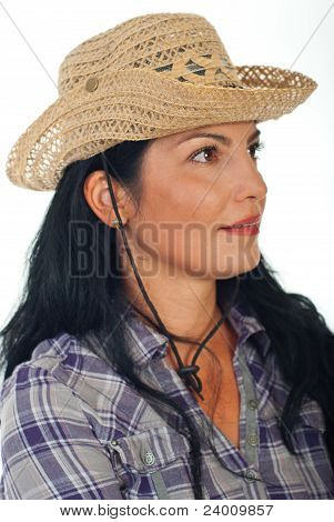 Profile Of Woman With Cowboy Hat