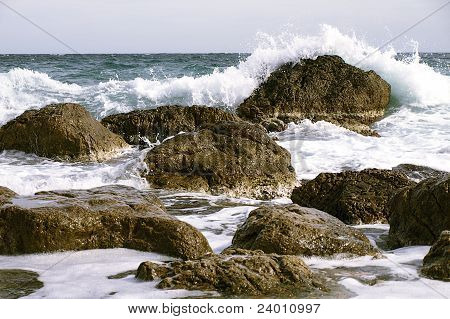coastal rocks in the surf