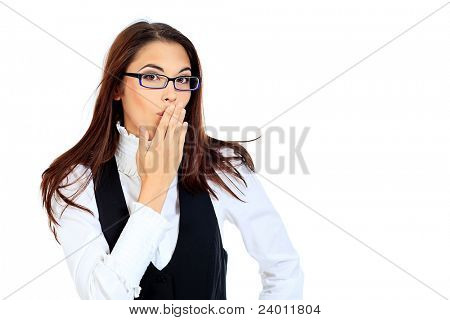 Portrait of a surprised young woman. Isolated over white.