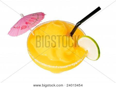 Frozen Mango Margarita Daiquiri Isolated On White