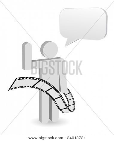 person with chatbox and film strip