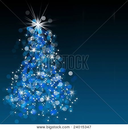 Sparkling bokeh Christmas tree illustration.
