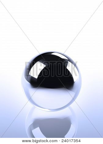 Chrome Ball In Blue Light