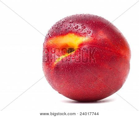 Nectarine With Water Drops