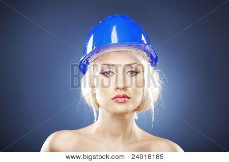 Beautiful Blonde With Construction Helmet