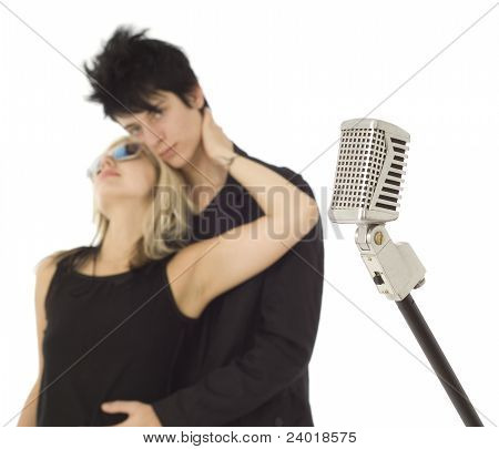 Retro Microphone With Singers In Background