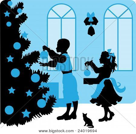 Christmas vector illustration kids silhouettes