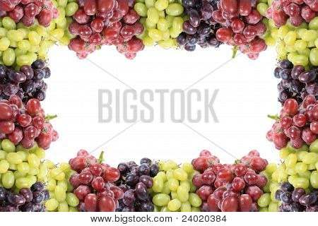 Three Different Types Of Grapes Border Or Frame