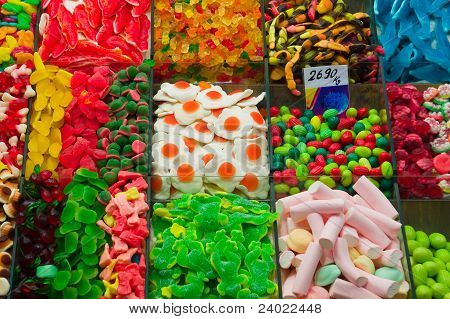 Assortment of Candy at La Boqueria