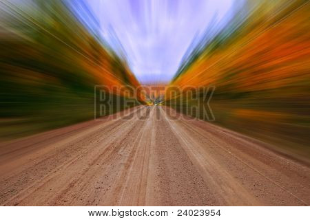 Autumn Colors Country Dirt Road Zooming Effect
