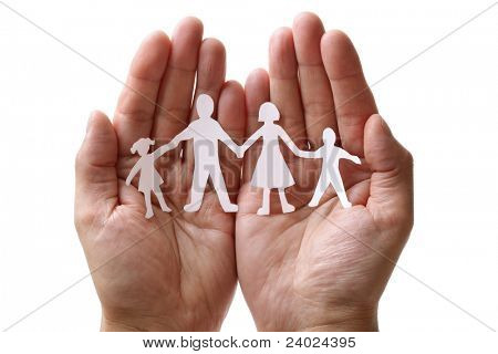 Cutout paper chain family with the protection of cupped hands, concept for security and care