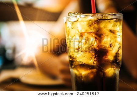 Cola With Ice And Red