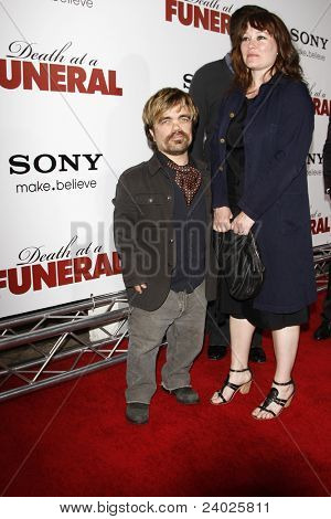 LOS ANGELES - APR 12: Peter Dinklage and wife Erica Schmidt at the World Premiere of 'Death At A Funeral' held at the Arclight Theater in Los Angeles, California on April 12, 2010