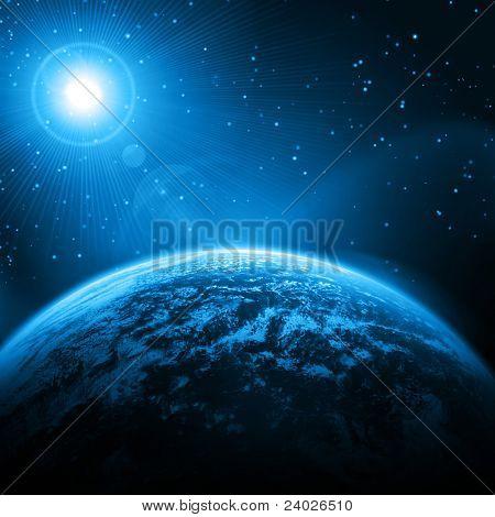 Cosmic star background . Earth, stars, rays of light