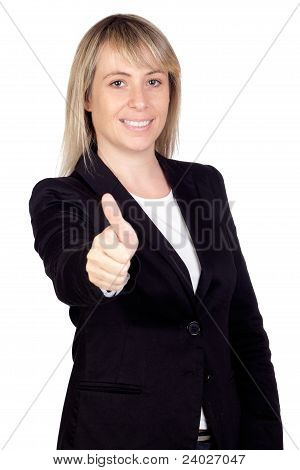 Blonde Businesswoman Saying Ok