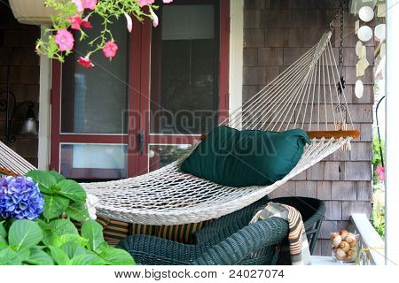 Hammock On A Cape Cod Porch House