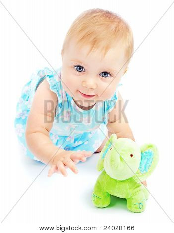 Adorable Happy Little Baby Girl Playing