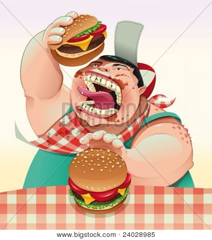 Junge mit Hamburgern. Cartoon und Vektor-Illustration.