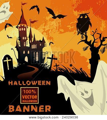 Halloween terrible Vector background with castle. Abstract Classical autumn card.