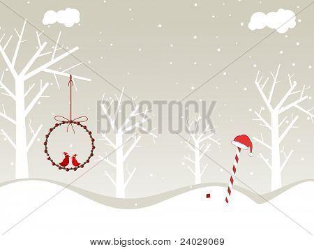fundo do conceito de natureza com árvore seca, Pássaros sentar-se em bolas & doces para feliz Natal