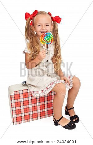 Happy Girl With Retro Outfit And Travel Suitcase
