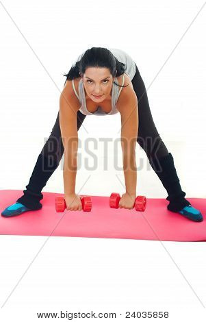 Woman Doing Fitness Exercise With Dumbbell