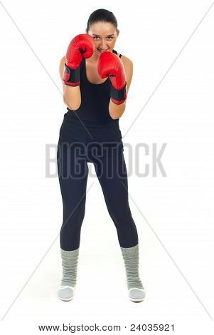 Smiling Boxer Woman Defending