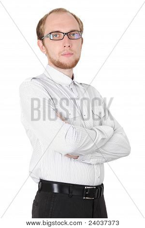 Young Serious Businessman In White Shirt And Glasses Isolated