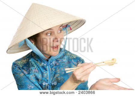 Tourist Sharing Chinese Food