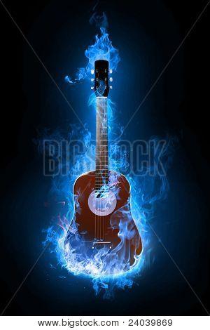 Guitarra eléctrica de fuego sobre fondo