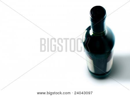 Bottle of red wine with blank labels isolated on white background with path
