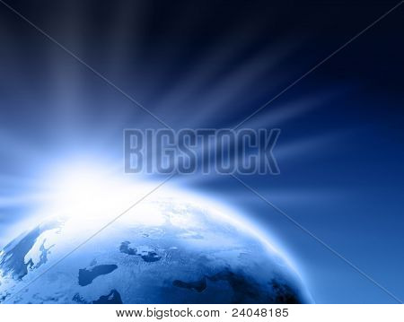Rising Sun over Earth illustration. Copy space for your text
